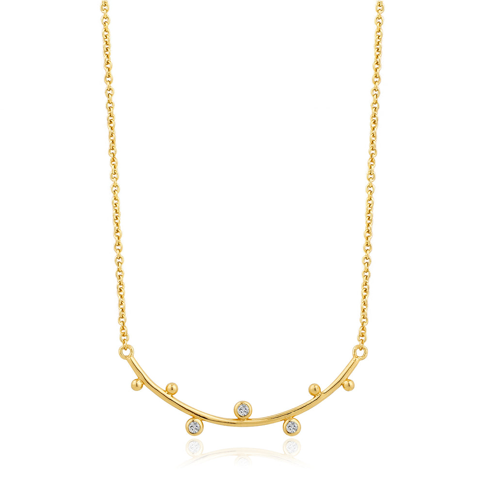 Gold Shimmer Solid Bar Stud Necklace