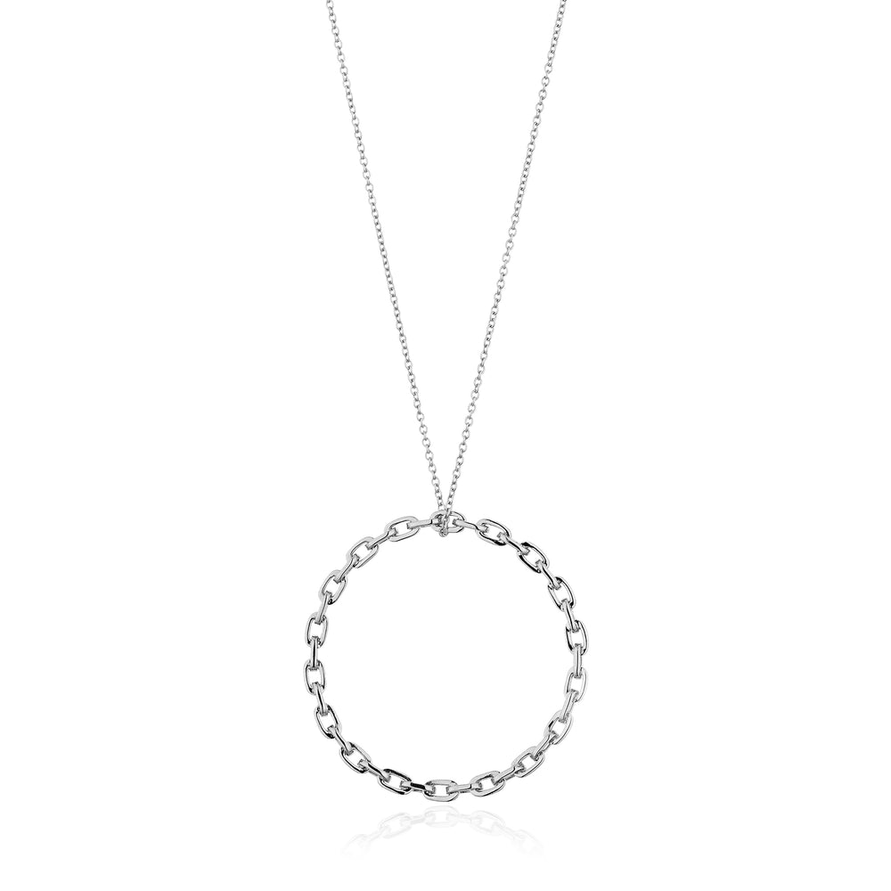 Silver Chain Circle Pendant Necklace