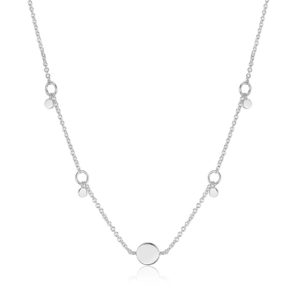 Silver Geometry Drop Discs Necklace