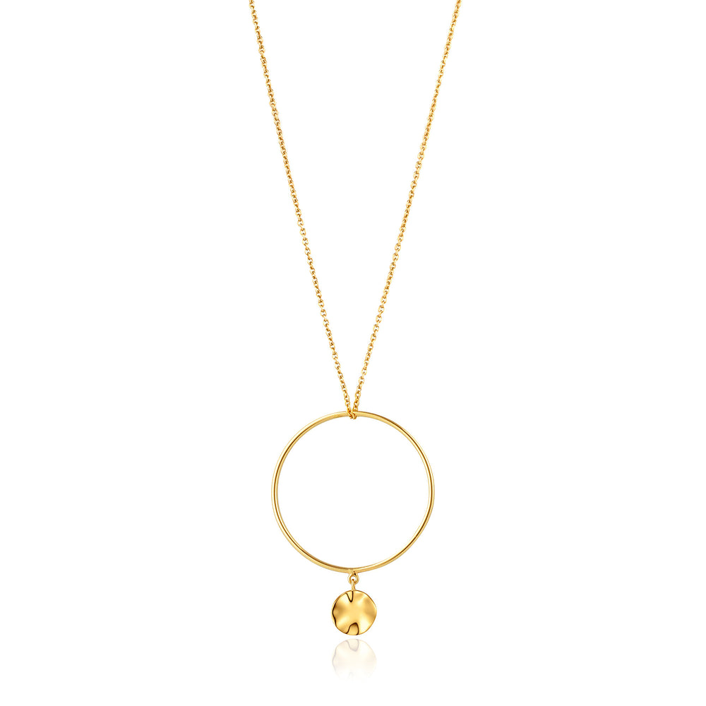 Gold Ripple Circle Necklace