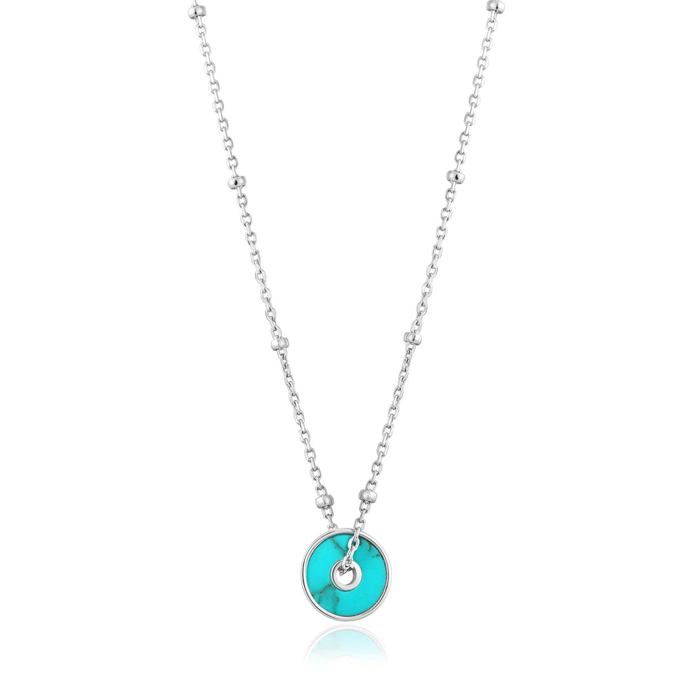 Load image into Gallery viewer, Silver Turquoise Disc Necklace