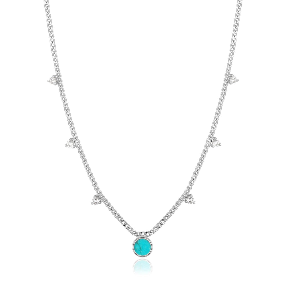 Silver Turquoise Drop Disc Necklace