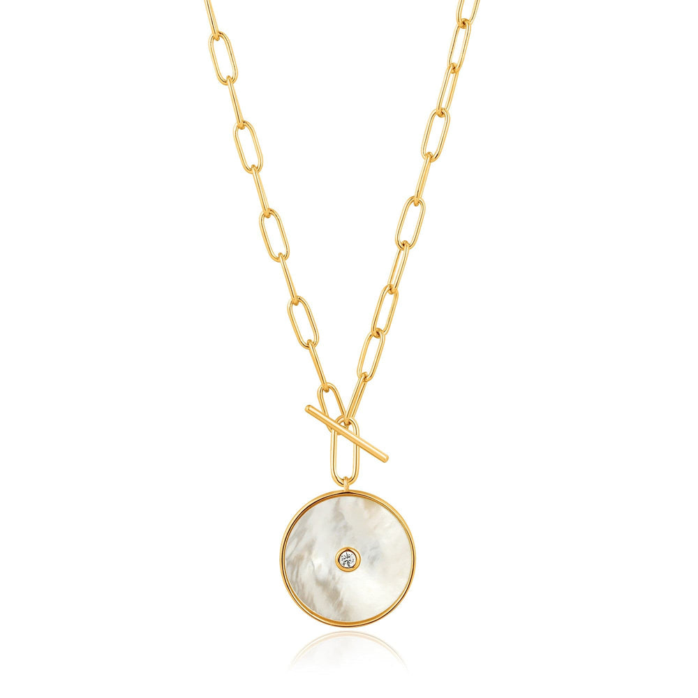 Gold Mother Of Pearl T-bar Necklace