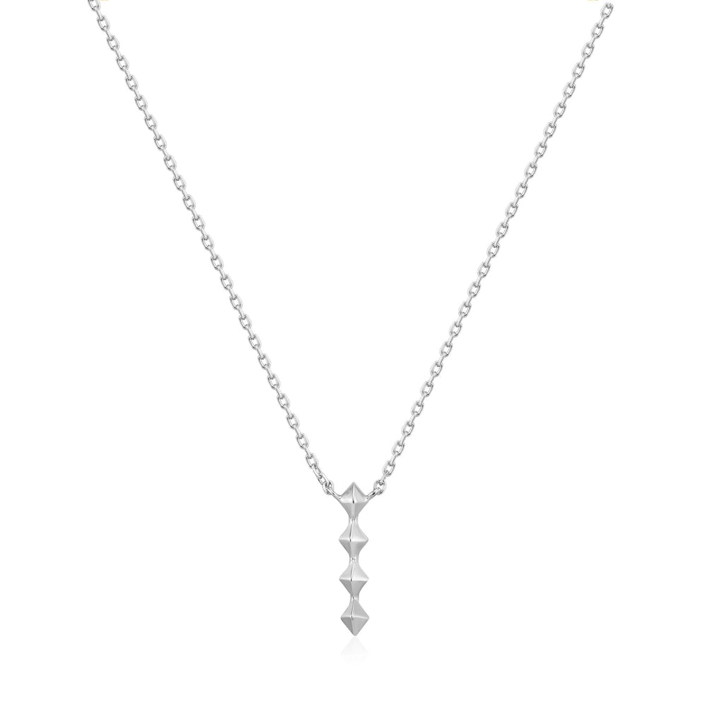 Silver Spike Drop Necklace