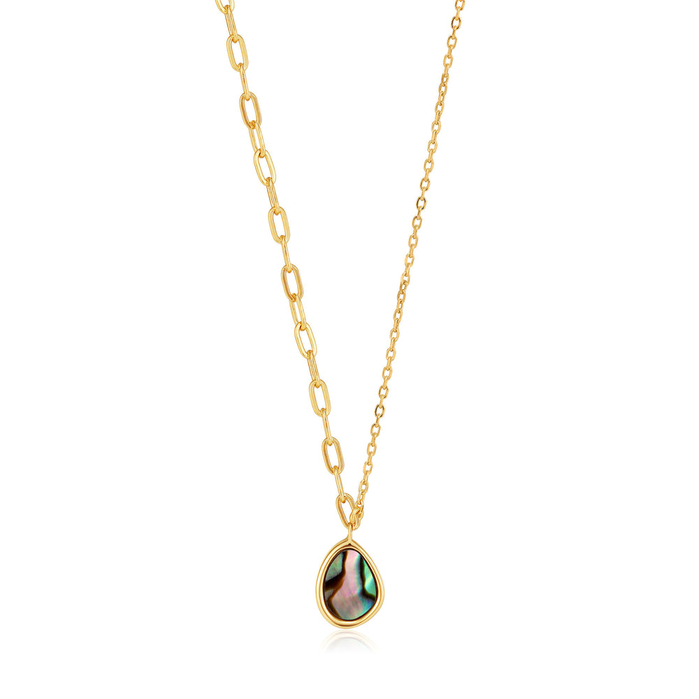 Gold Tidal Abalone Mixed Link Necklace