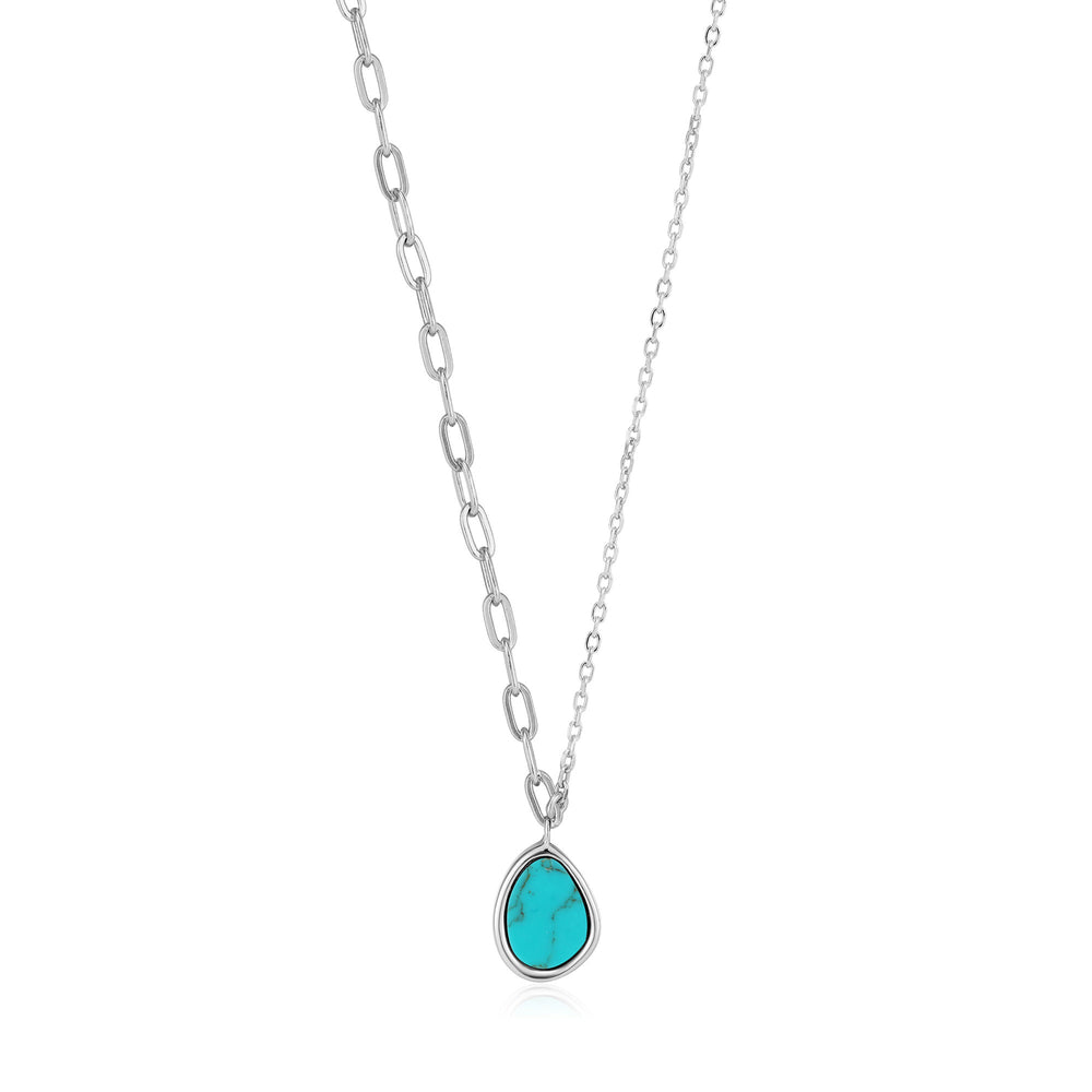 Silver Tidal Turquoise Mixed Link Necklace