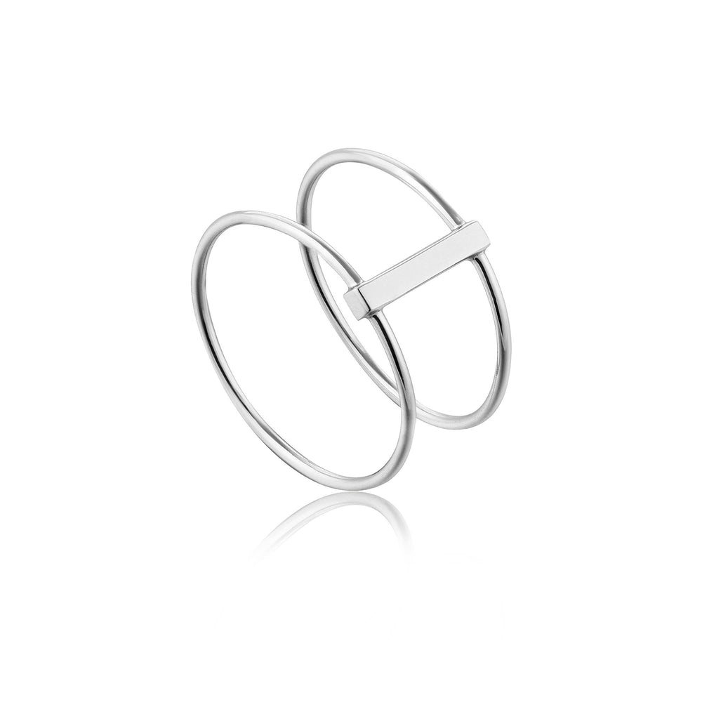 Silver Modern Double Ring