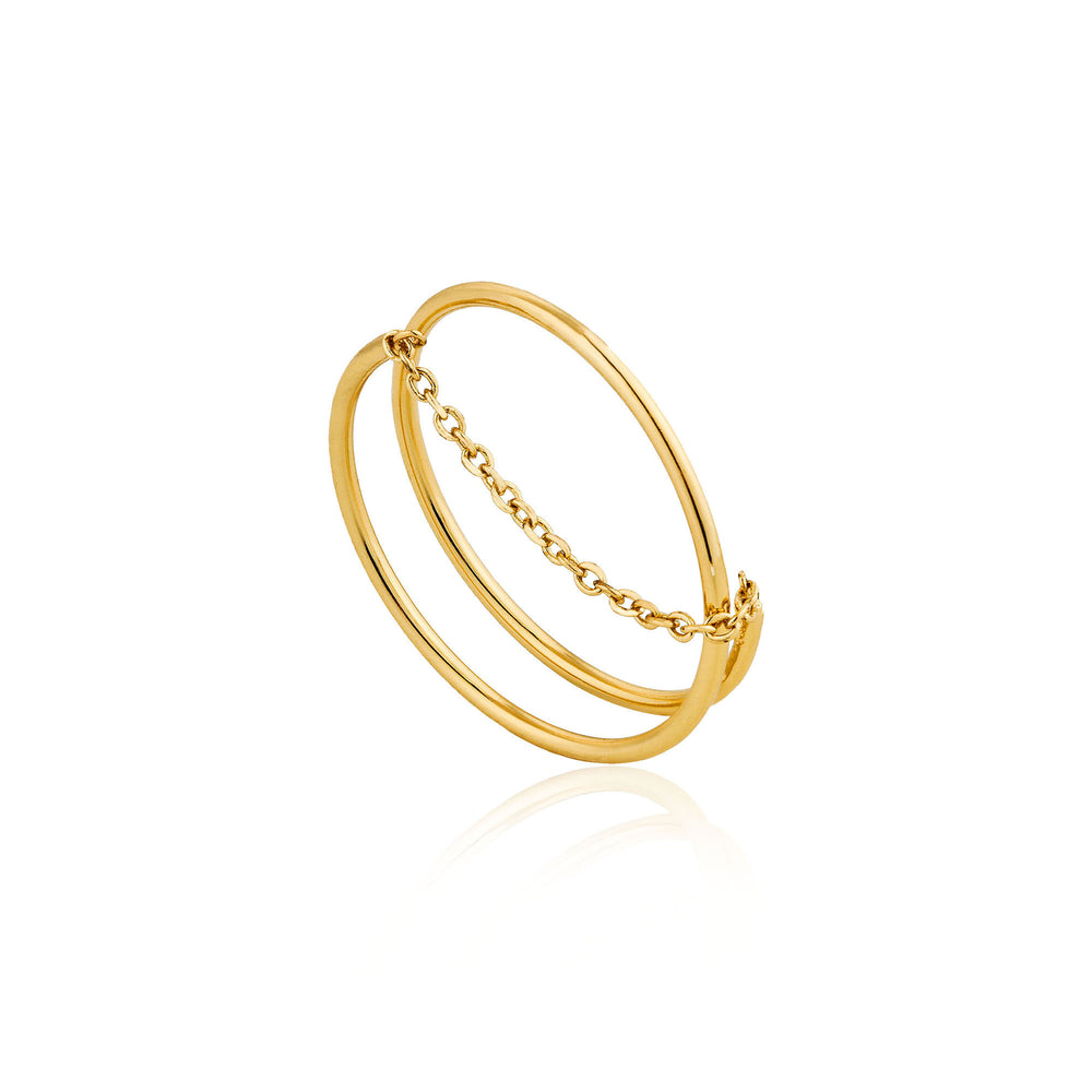 Gold Modern Twist Chain Adjustable Ring