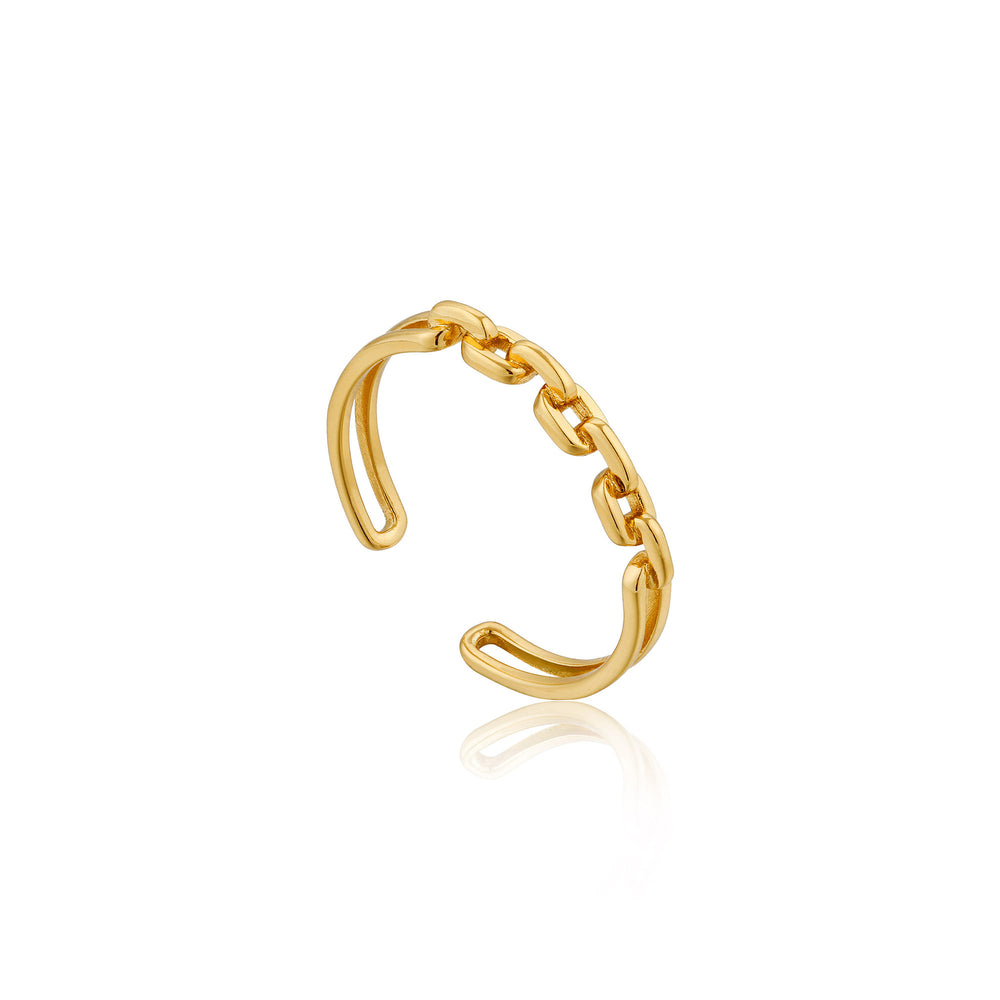 Load image into Gallery viewer, Gold Links Double Adjustable Ring