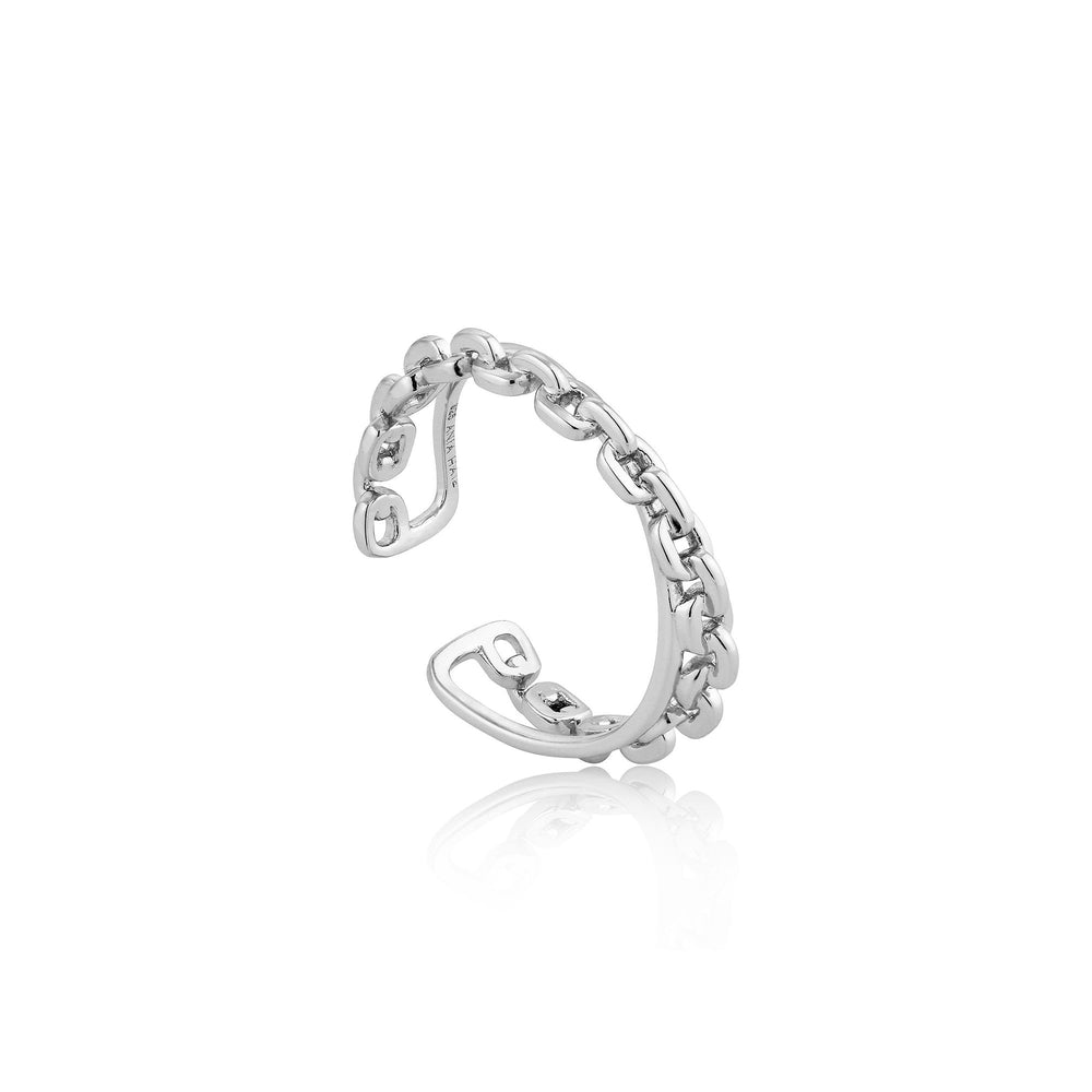 Silver Chain Double Crossover Adjustable Ring