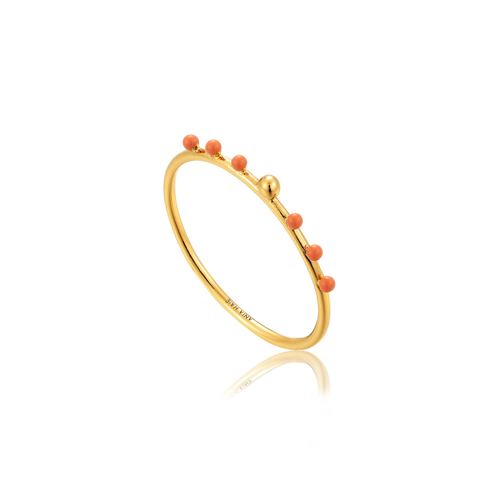 Gold Dotted Small Ball Ring
