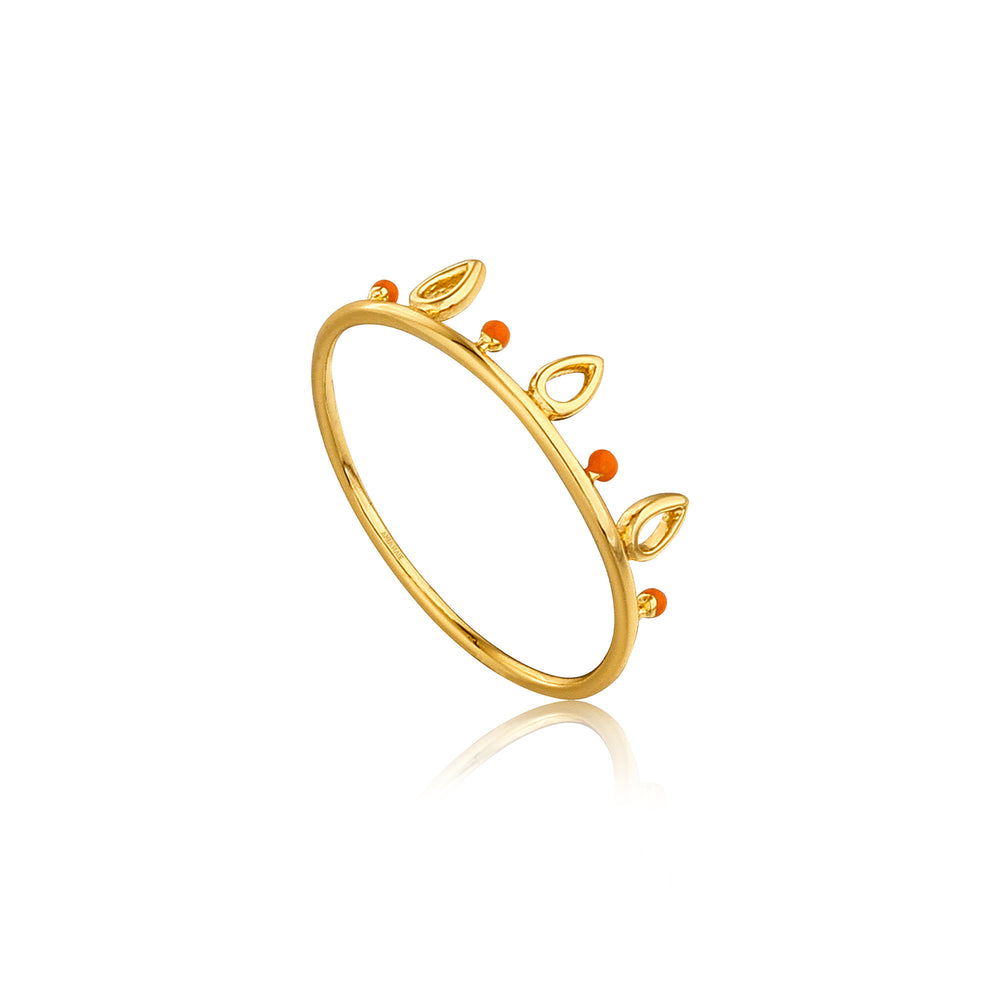 Gold Dotted Triple Raindrop Ring