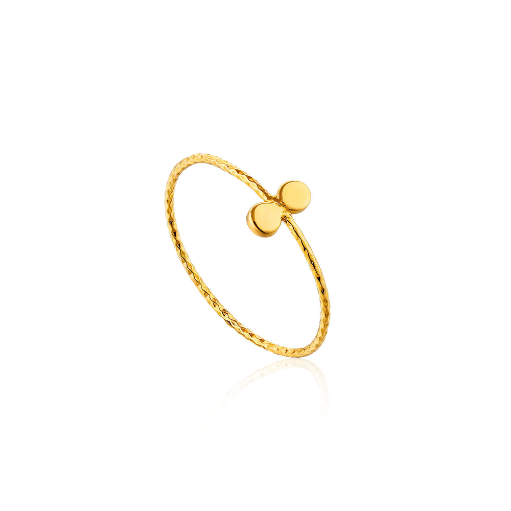 Gold Texture Double Disc Ring