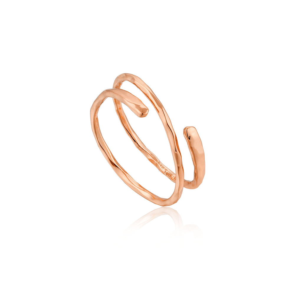 Rose Gold Ripple Adjustable Ring