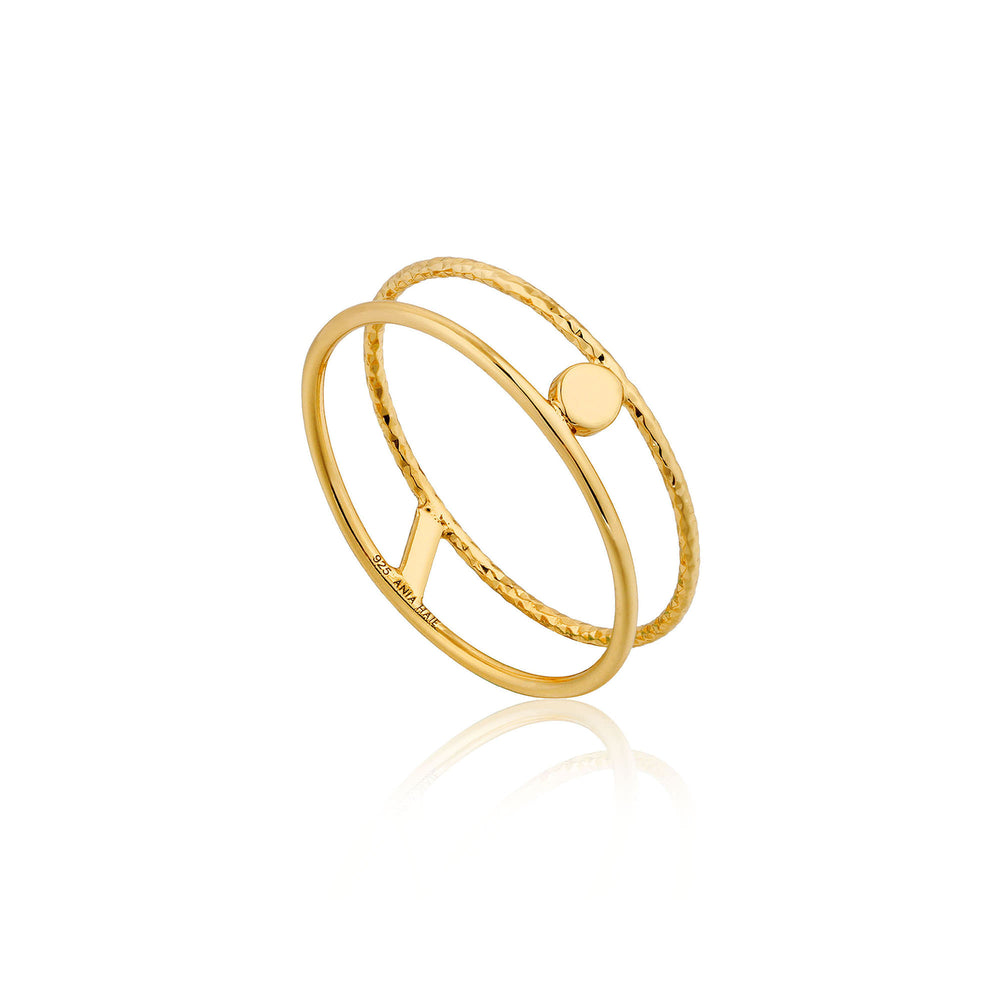 Gold Texture Double Band Ring