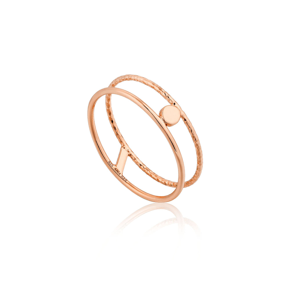 Rose Gold Texture Double Band Ring