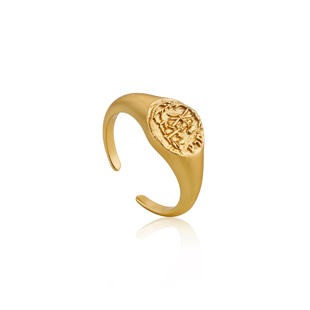 Gold Emblem Adjustable Signet Ring
