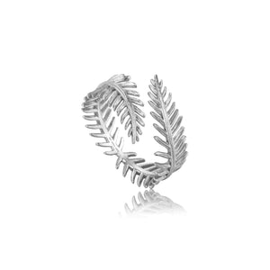 Silver Palm Leaf Adjustable Ring