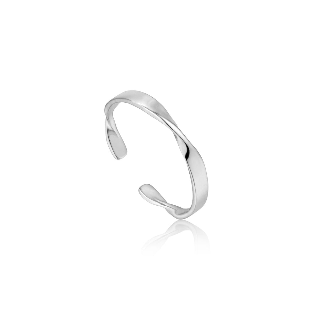 Silver Helix Thin Adjustable Ring