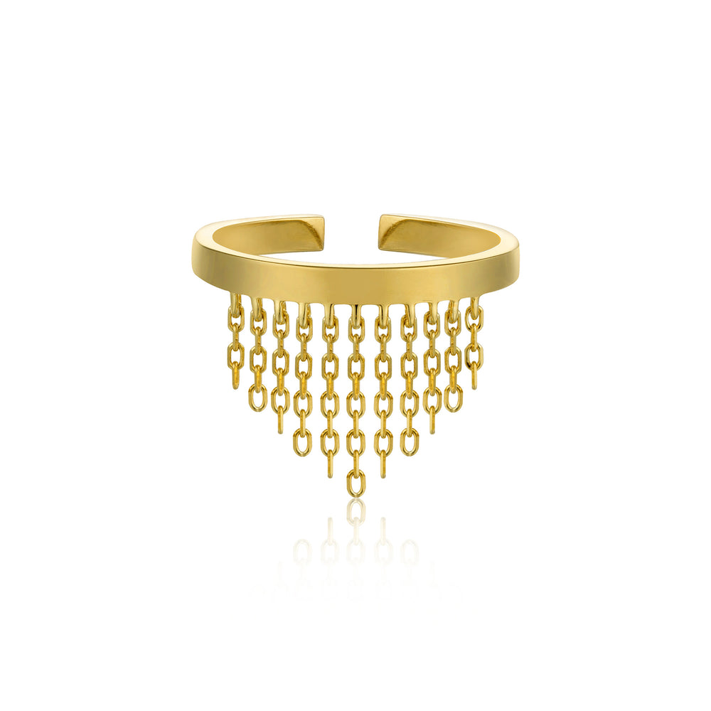 Load image into Gallery viewer, Gold Fringe Fall Adjustable Ring