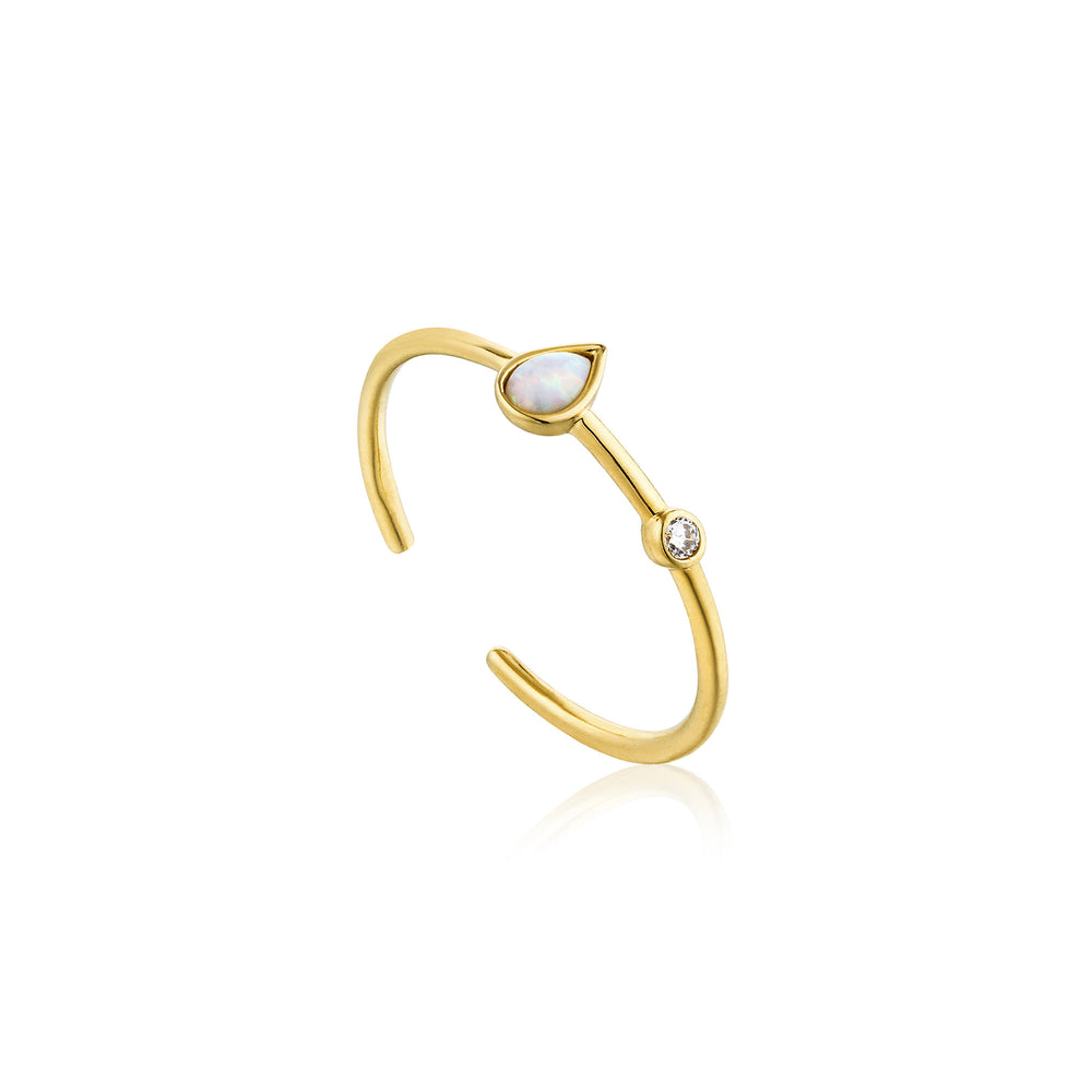 Opal Colour Raindrop Adjustable Gold Ring