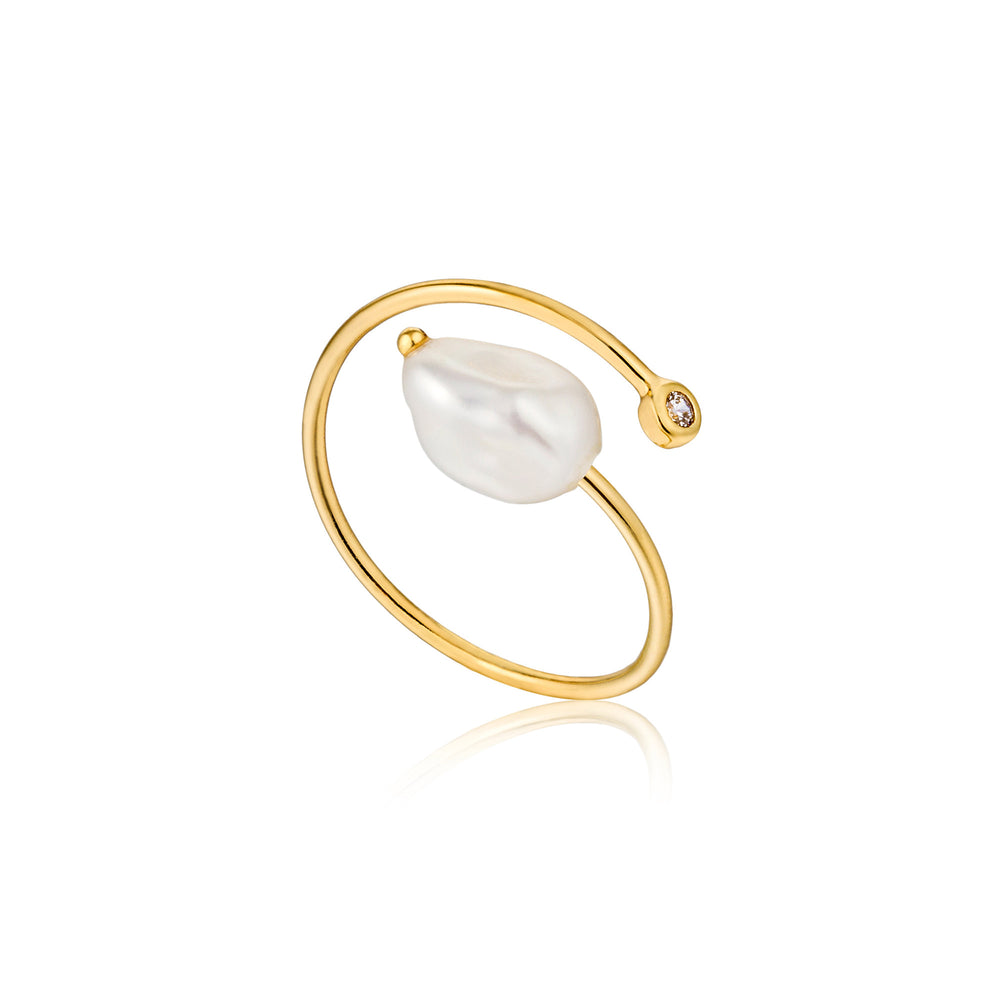 Load image into Gallery viewer, Gold Pearl Twist Adjustable Ring