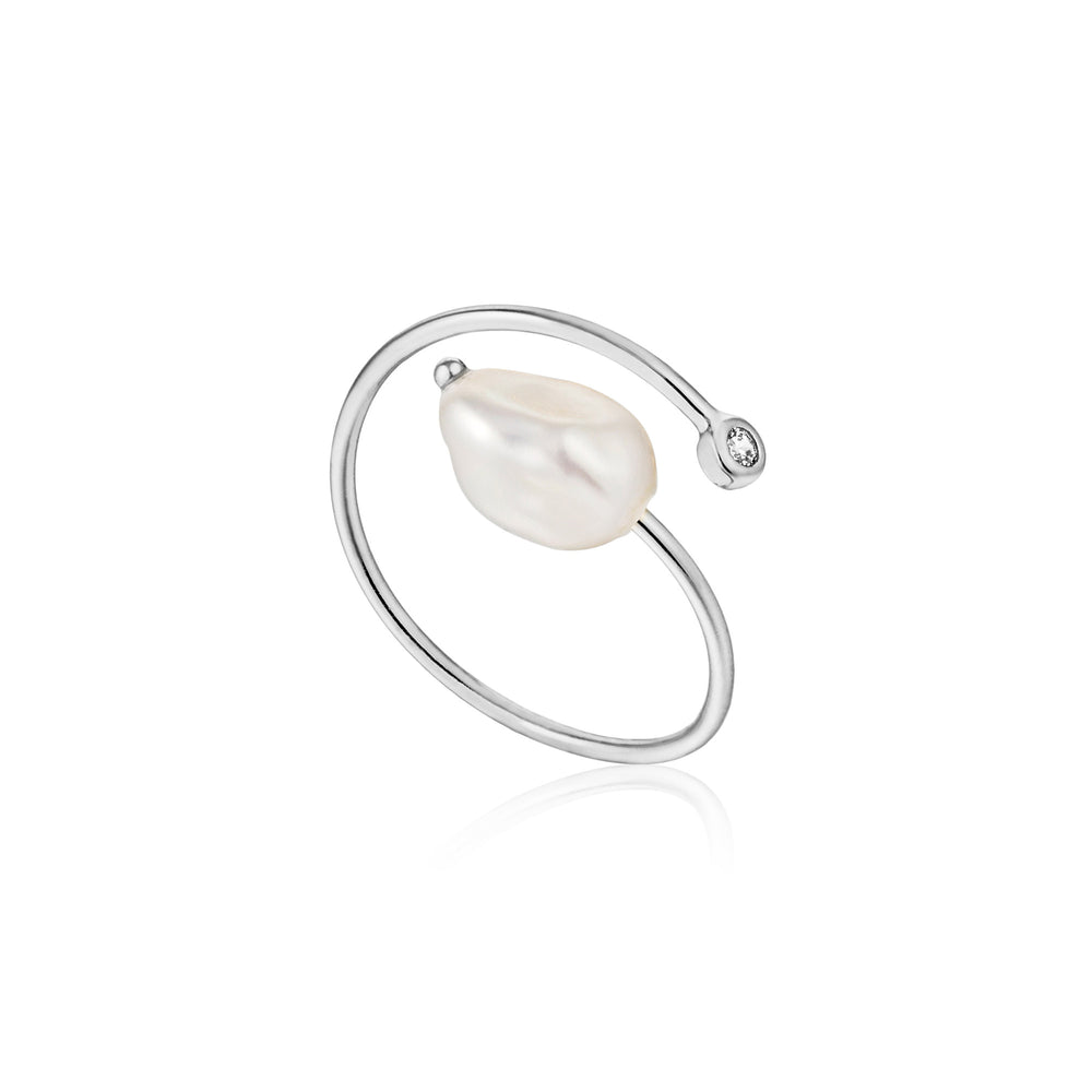 Silver Pearl Twist Adjustable Ring