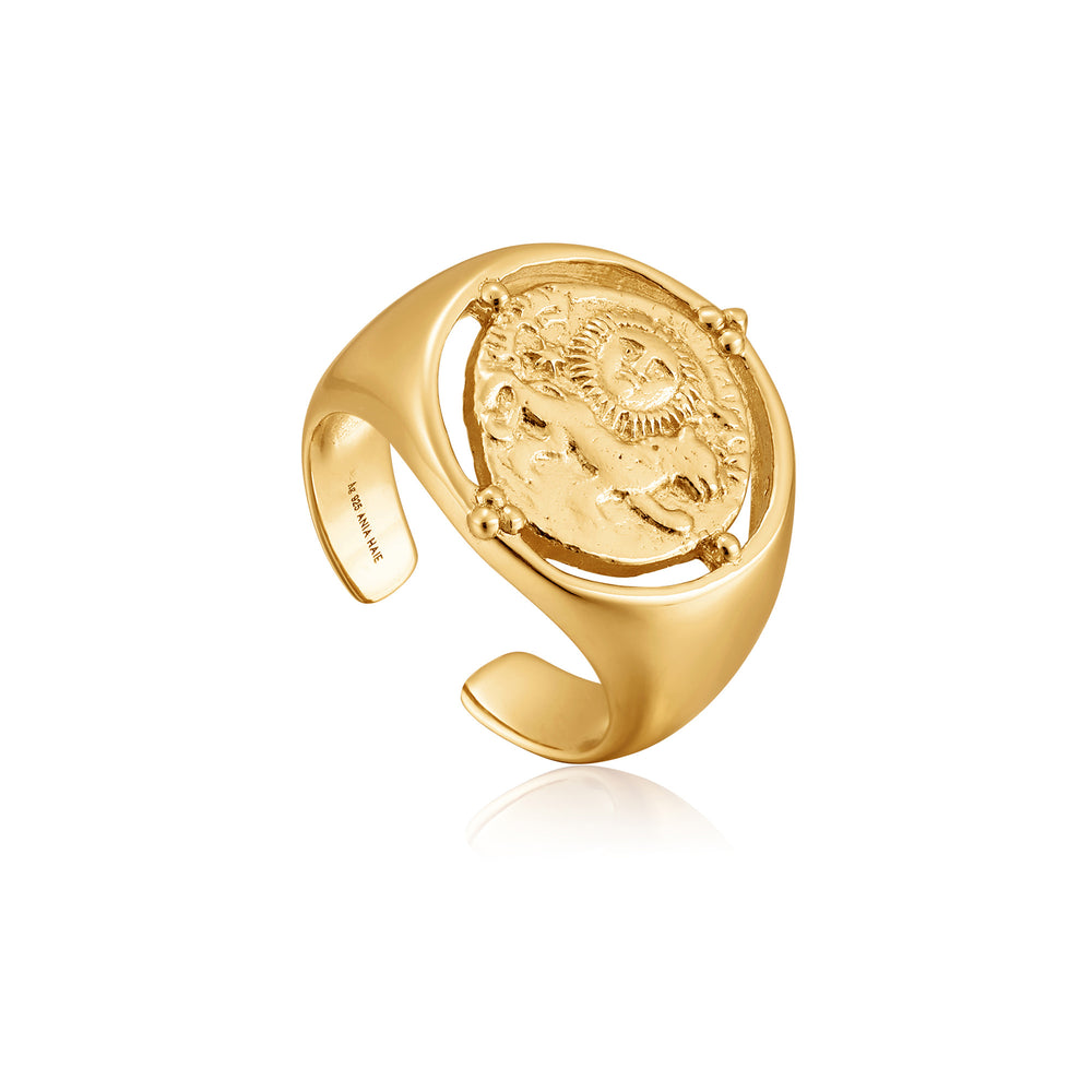 Load image into Gallery viewer, Gold Seljuks Signet Adjustable Ring