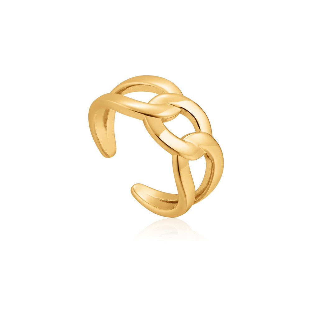 Gold Wide Curb Chain Adjustable Ring