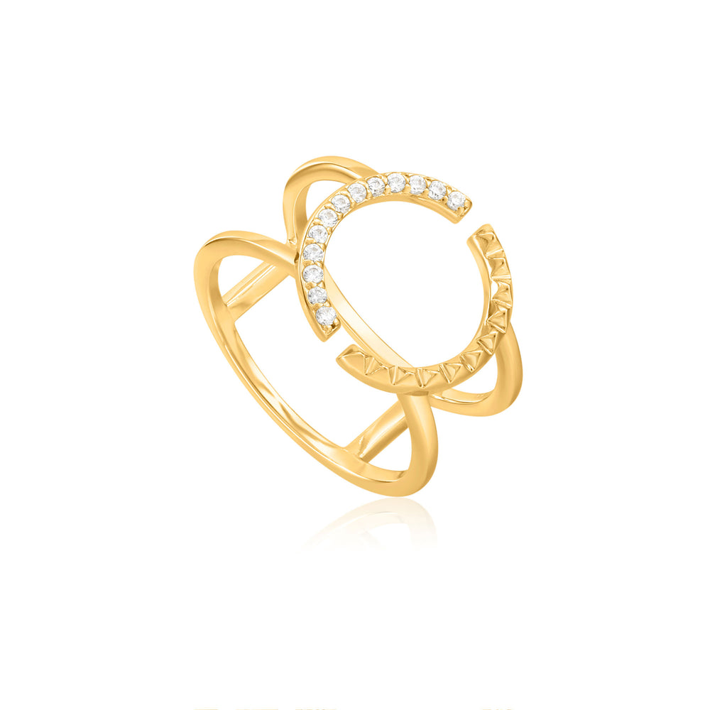 Gold Spike Adjustable Double Ring