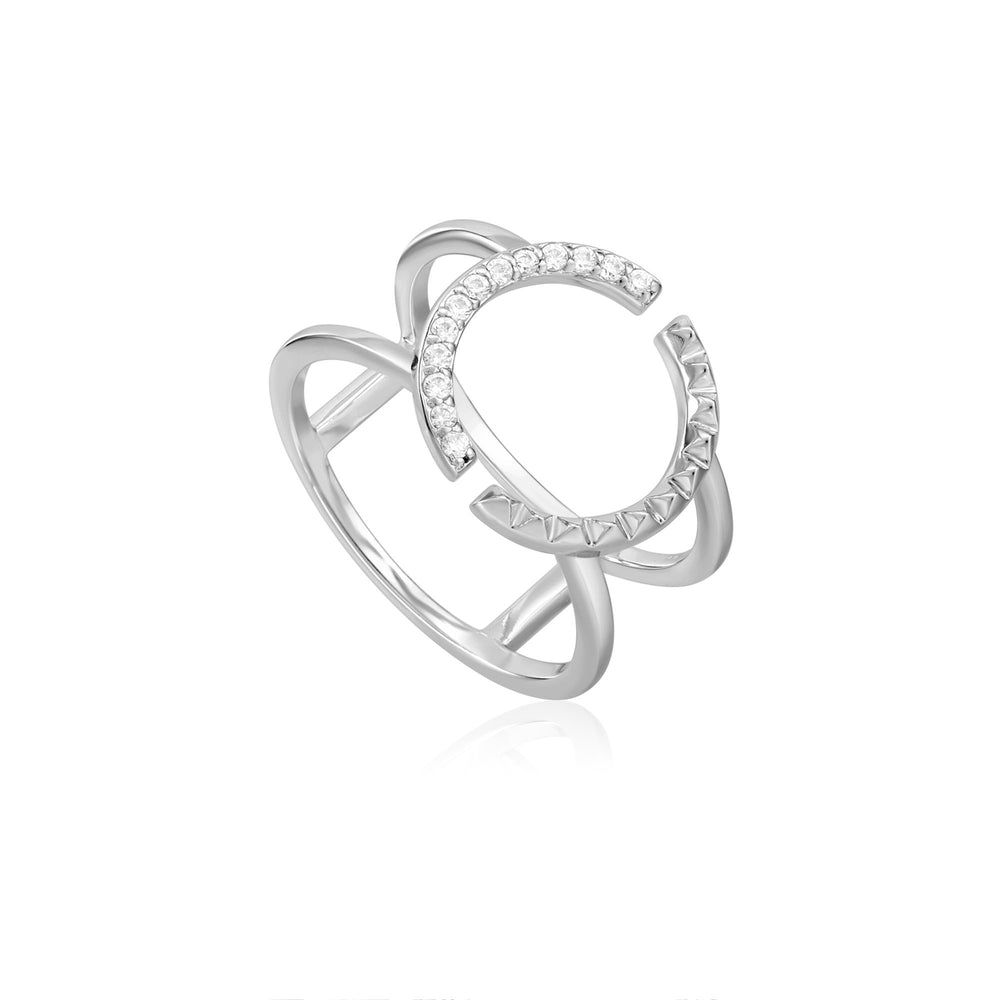 Silver Spike Adjustable Double Ring