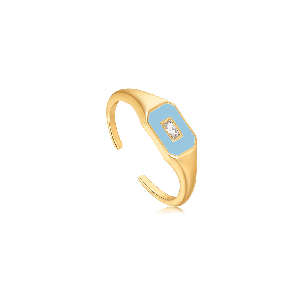 Powder Blue Enamel Emblem Gold Adjustable Ring