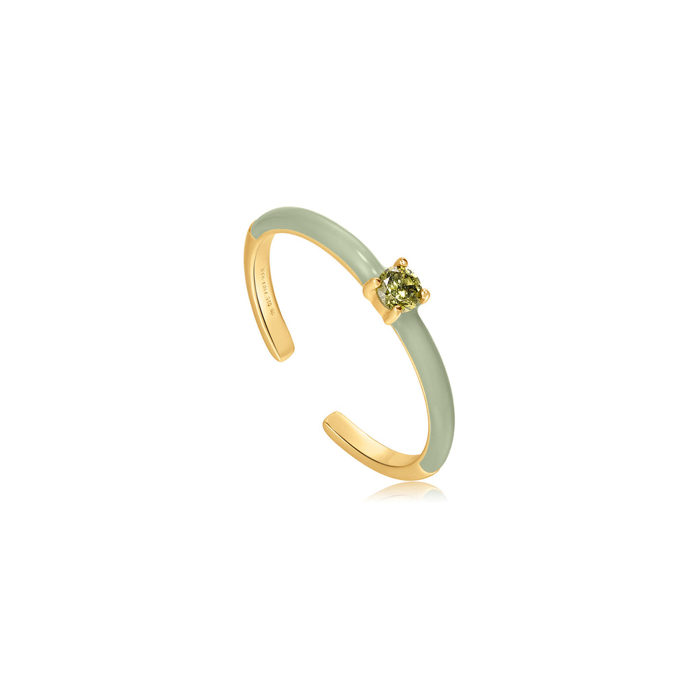 Sage Enamel Gold Adjustable Ring