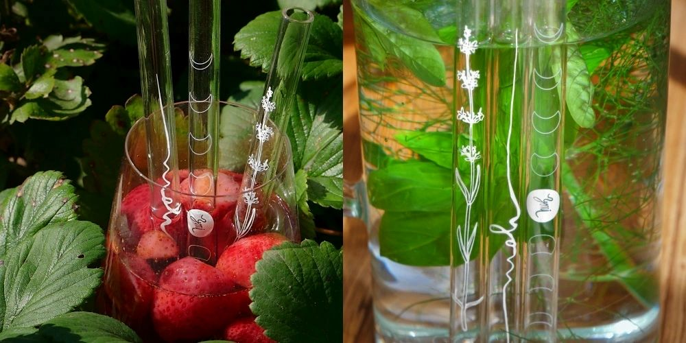 Czech Glass Straws 3 pieces