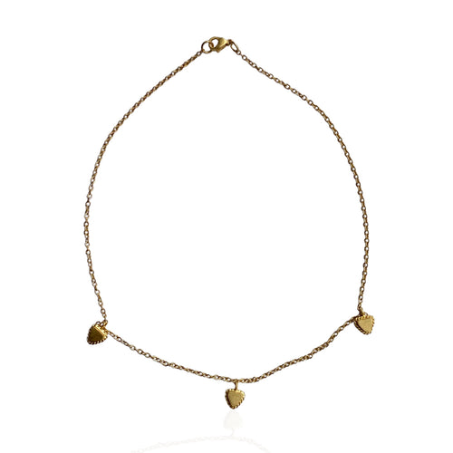 Delicate choker with three triangles by Paulina Echeverri. Made in Colombia.