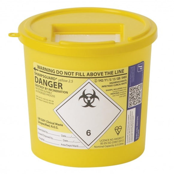 Sharpsguard Yellow 2.5 Ltr Sharps Bin