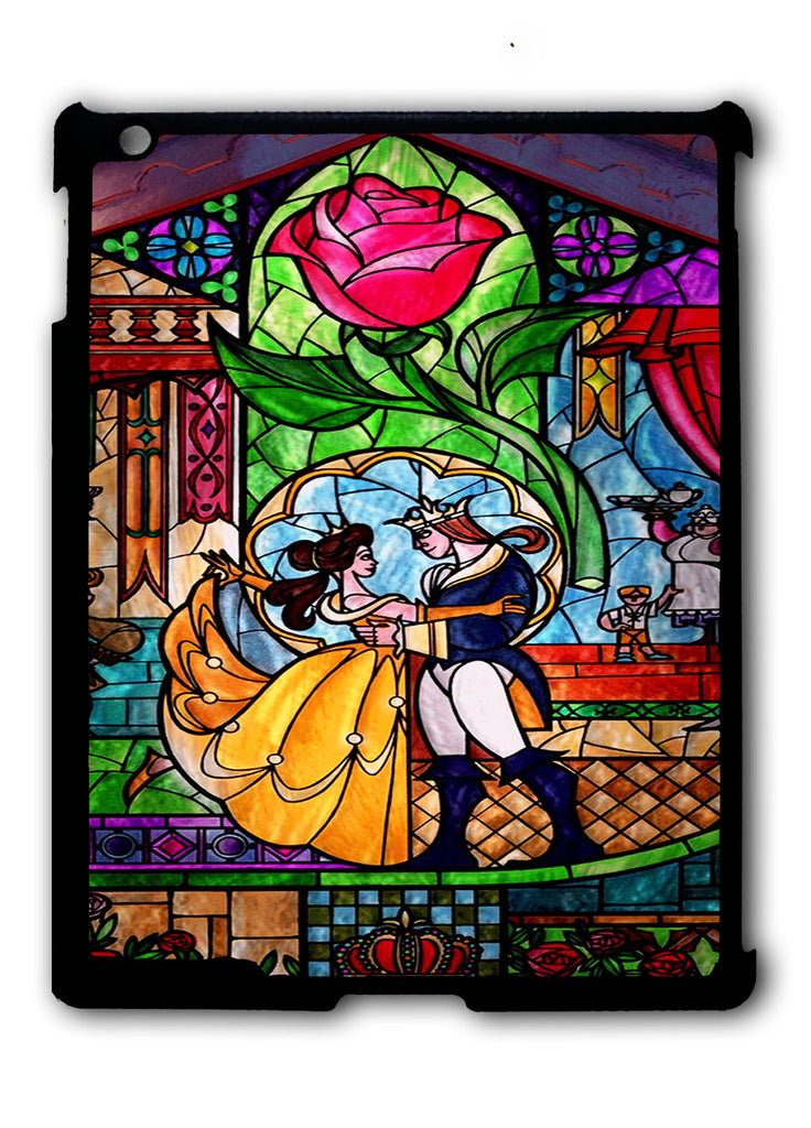 Beauty And The Beast Stained Glass iPad 2 3 4, iPad Mini 1 2 3 , iPad Air 1 2, iPad Pro 9.7 12.9 Case
