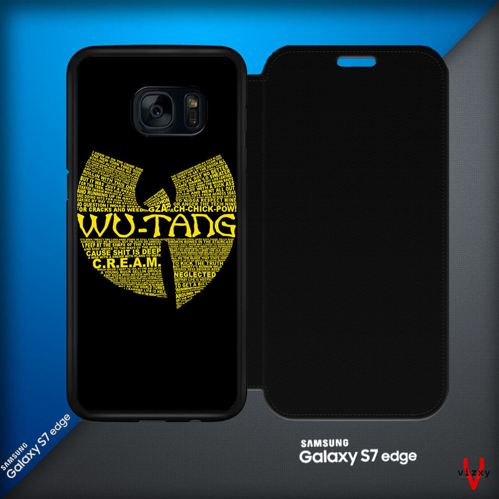Wu Tang Quote Logo Samsung Galaxy S7 Edge Leather Flip Cover   Case