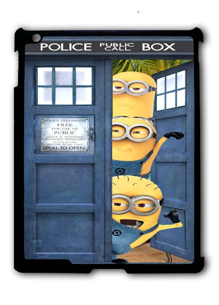 Despicable Me Spiderman In Dr Who Tardis Call Box iPad 2 3 4, iPad Mini 1 2 3 , iPad Air 1 2, iPad Pro 9.7 12.9 Case