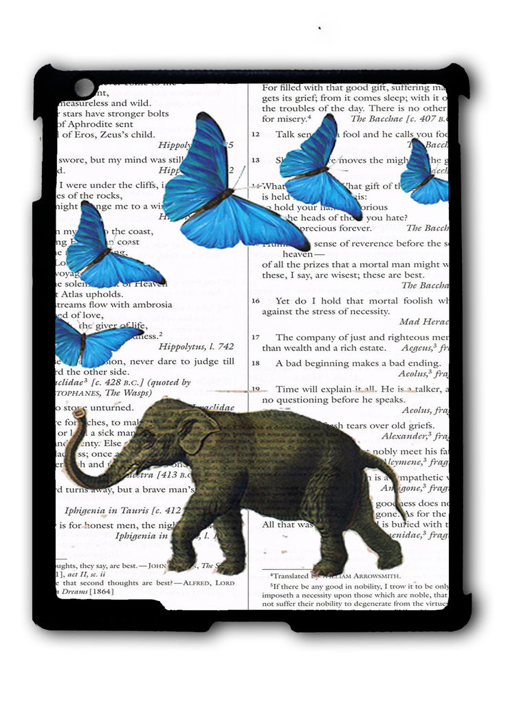 Elephant and butterflies iPad 2 3 4, iPad Mini 1 2 3 , iPad Air 1 2, iPad Pro 9.7 12.9 Case
