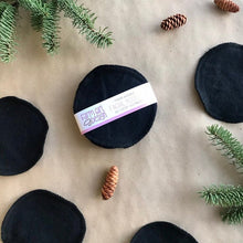 Load image into Gallery viewer, Eight pack of reusable cotton facial rounds in the colour black. Perfect for that zero waste lifestyle. Super soft and can be tossed in the laundry with your other clothes.