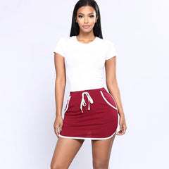 shinenows.com: Mini skirt with elastic waist stripes