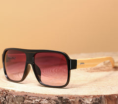 Square sunglasses made of wood
