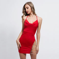 shinenows.com: dress with split strap and open back