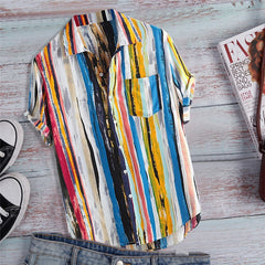 Printed beach short sleeve sleeve colored shirt