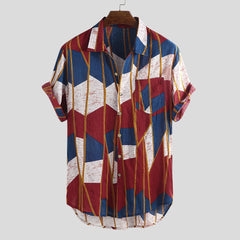 shinenows.com: Printed Beach Short Sleeve Sleeve Colored Shirt