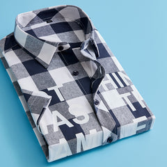 Letter plaid shirt male