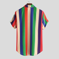 Color striped printed shirt summer
