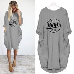 Casual dress with long sleeves and a loose pocket