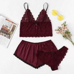 Satin lingerie lace shorts set